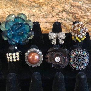 Lot of 7 costume adjustable rings bow rhinestone